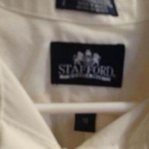 Stafford Shirts - Mens button dress shirt, cream color